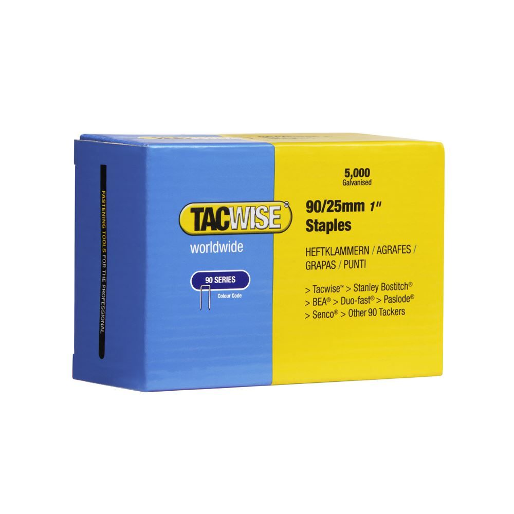 Tacwise 0308 90/25mm Galvanised Narrow Crown Staples, Box of 5000