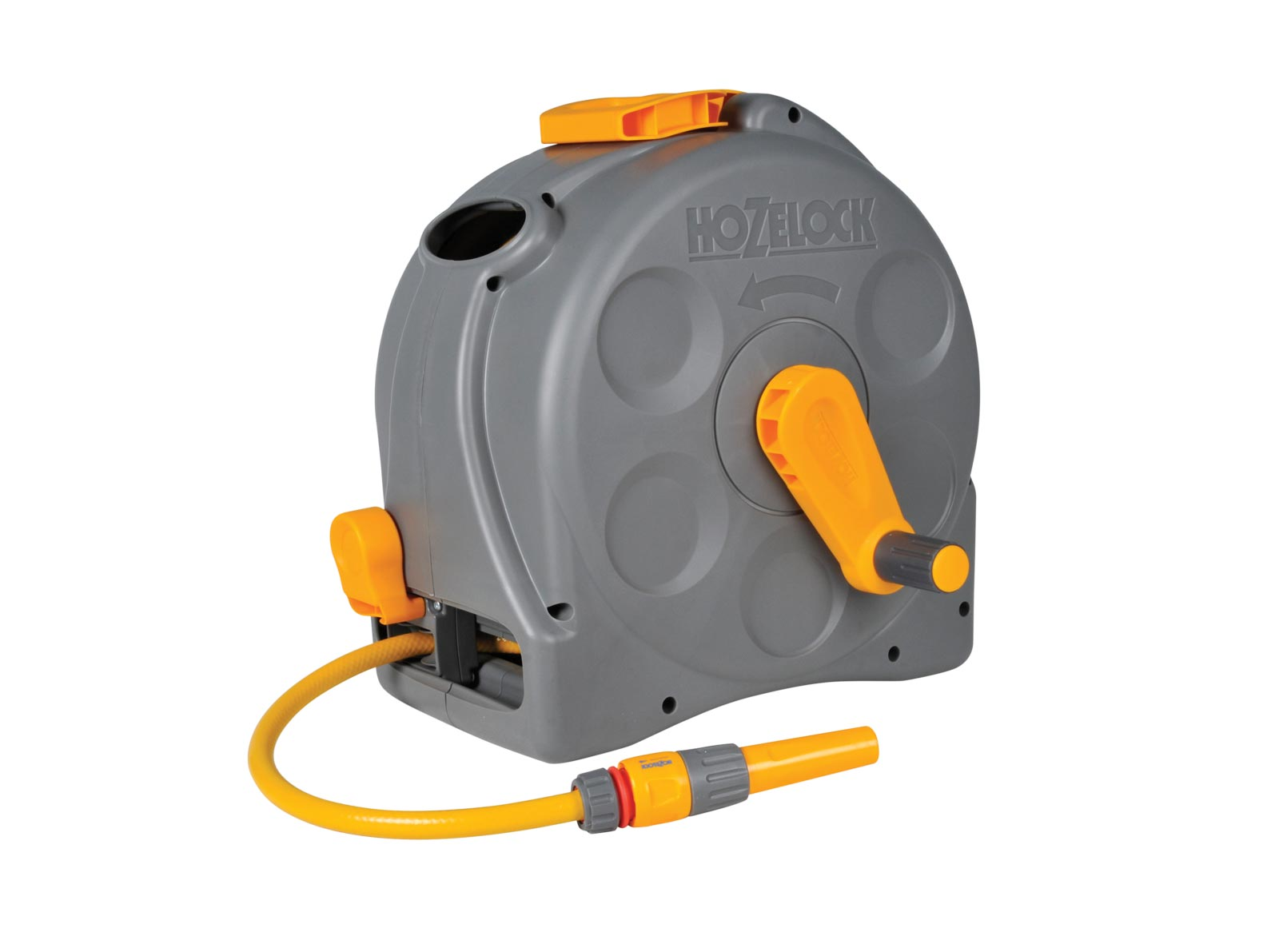 Hozelock 2 in 1 Floor & Wall Mounted Compact Enclosed Hose Reel, 25m Hose, Fittings, Nozzle