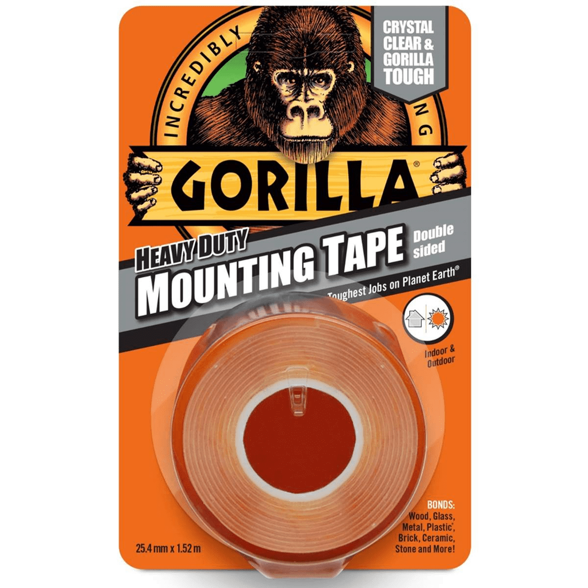 Gorilla Glue Heavy Duty Double Sided Mounting Tape, Clear, 1.5m