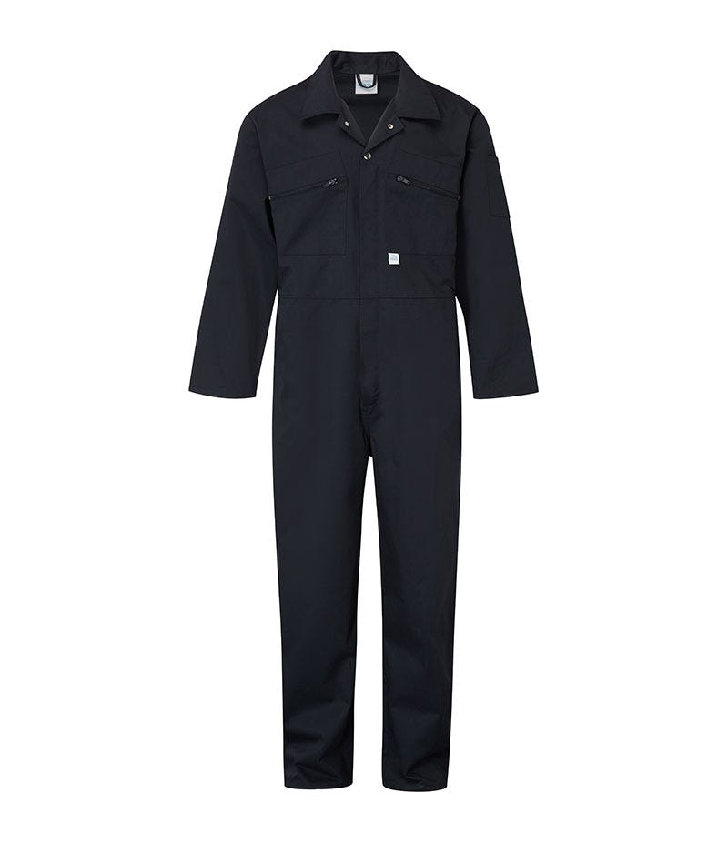 Castle Clothing Mens Zip Overall, Navy, Size 50