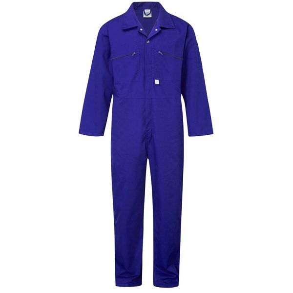 Castle Clothing 366 Mens Zip Front Overall, Royal Blue, Size 38