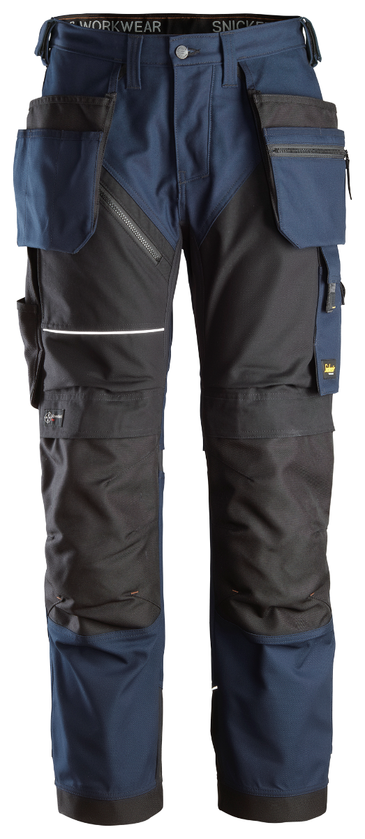 Snickers 6214 AllRoundWork Stretch Holster Pocket Trousers, Navy/Black, W31/L32