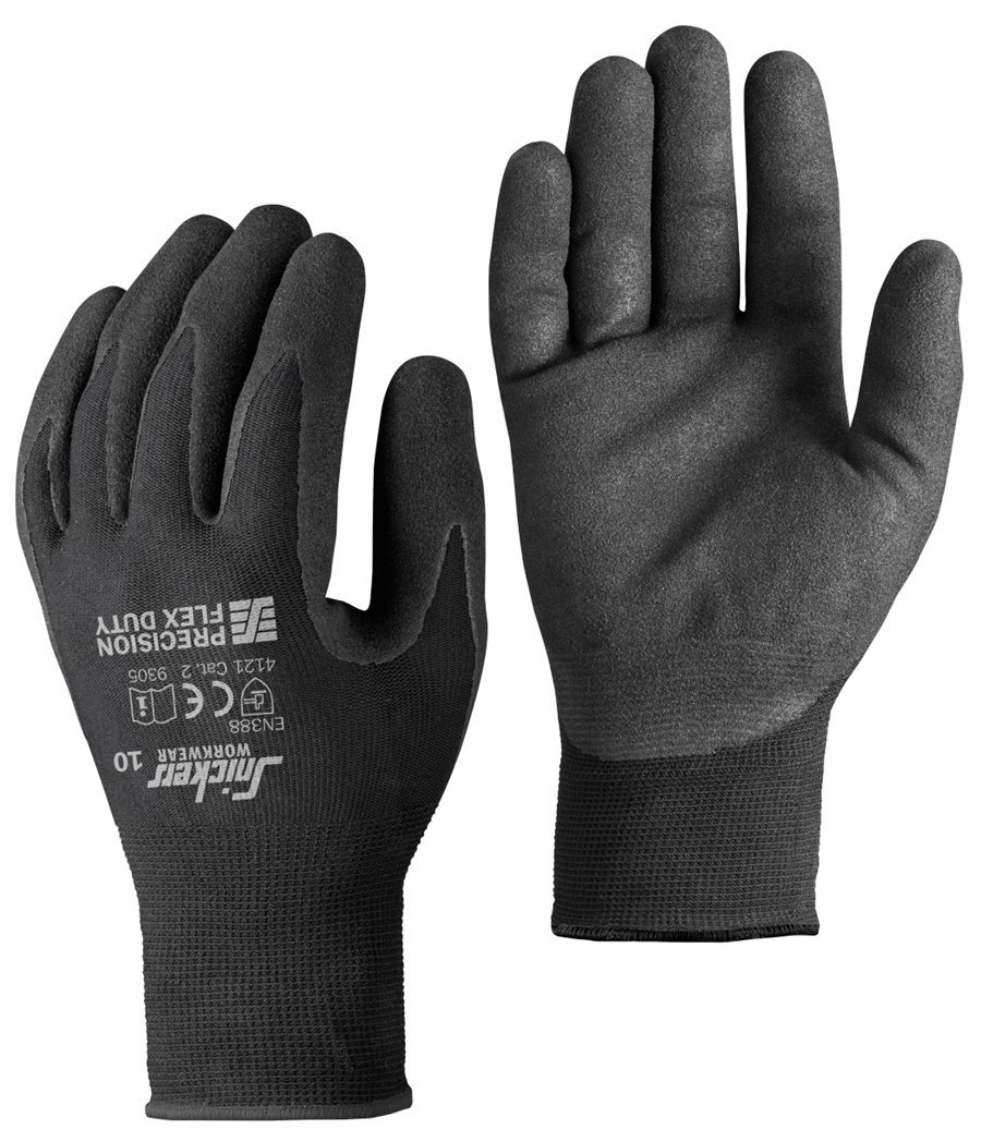 Snickers 9305 Precision Flex Duty Gloves, Black/Black, Size 10