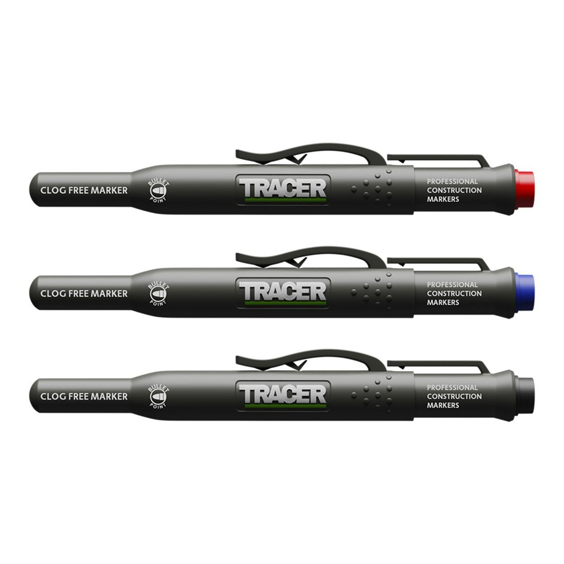 Acer Tracer ACF-MK3 Pack of 3 Clog Free Markers (1x Black / 1x Blue / 1x Red) C/W Site Holsters