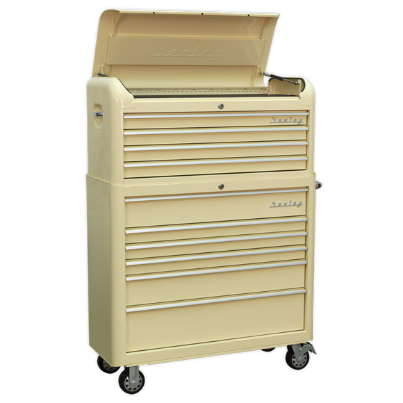 Sealey AP41COMBO Retro Style Extra Wide Topchest & Rollcab Combination 10 Drawer - Cream