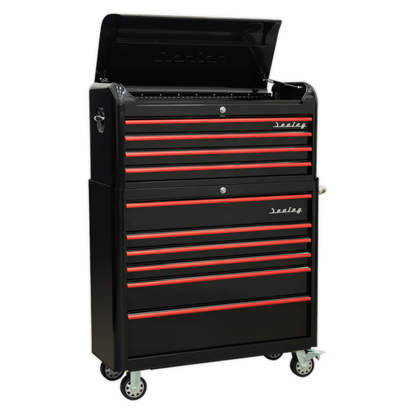 Sealey AP41COMBOBR Retro Style Extra Wide Topchest & Rollcab Combination 10 Drawer-Black with Red Anodised Drawer Pull
