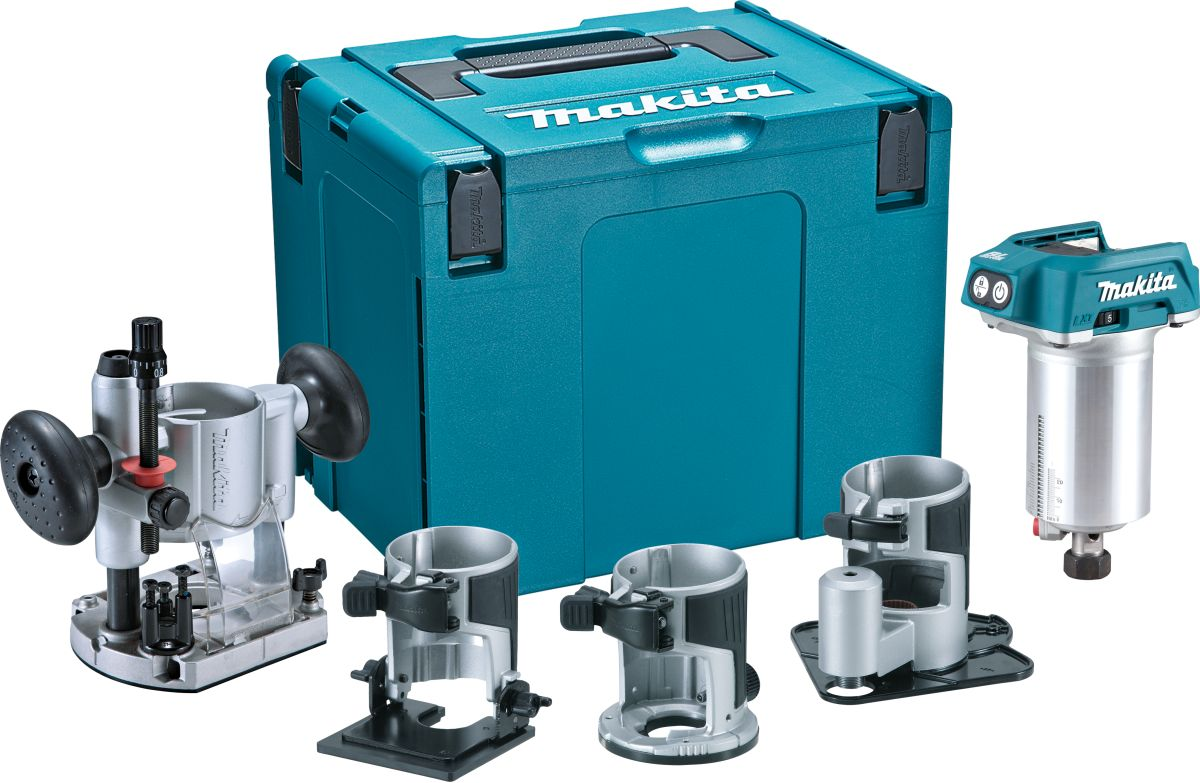 Makita DRT50ZJX3 18v Router/trimmer BL LXT c/w 3 Bases, Body Only