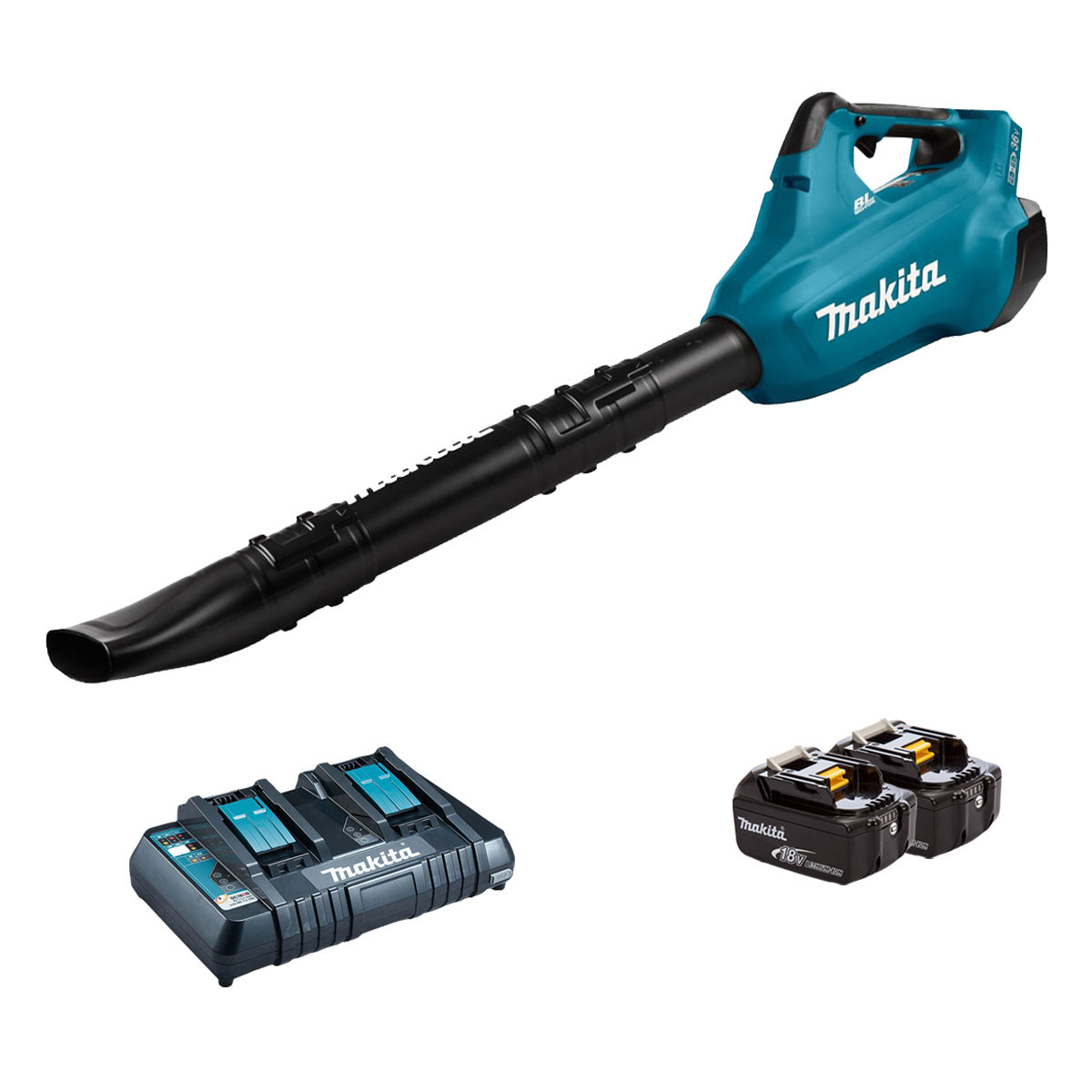 Makita DUB362 Twin 18v Brushless Leaf Blower - 2 x 6.0Ah Battery + Twin Charger