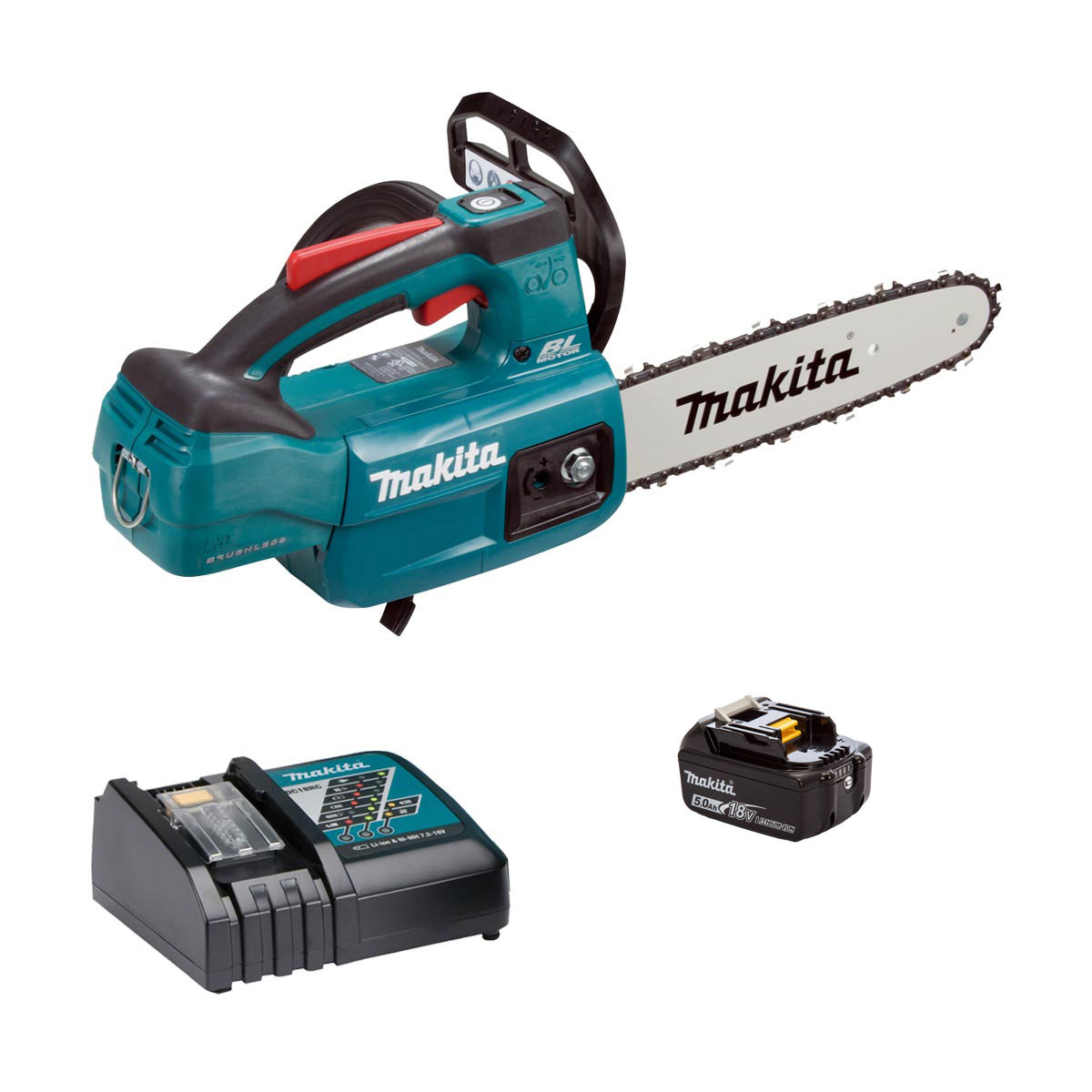 Makita DUC254 Single 18V Brushless Top-Handle Chainsaw 250mm - 1 x 5.0Ah + Charger