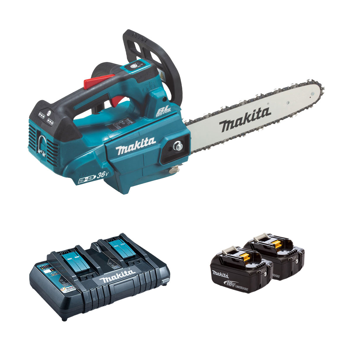 Makita DUC306 Twin 18v Brushless Top Handle Chainsaw 30cm - 2 x 6.0Ah + Twin Charger