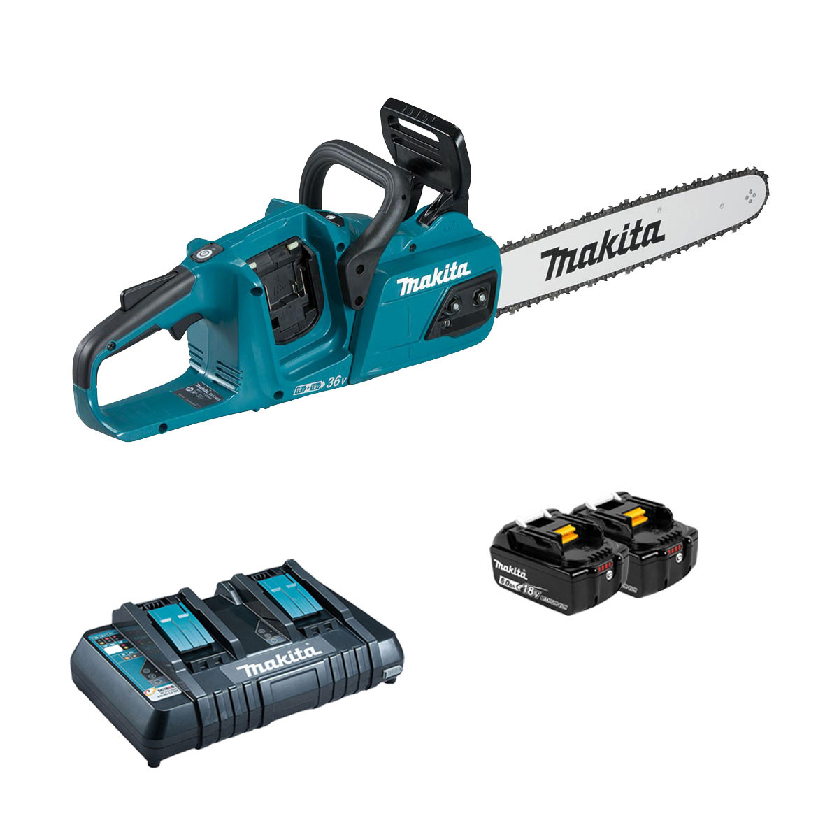 Makita DUC355 Brushless Twin 18v Chainsaw 35cm - 2 x 6.0Ah + Twin Charger