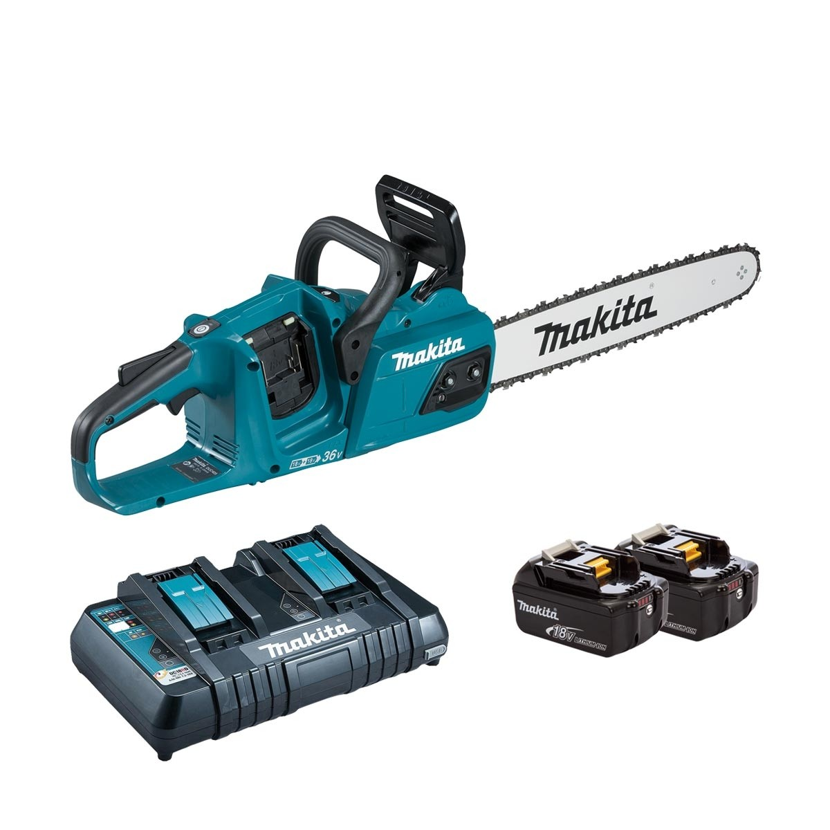 Makita DUC405Z Twin 18v Brushless Chainsaw 40cm - 2 x 6.0Ah + Twin Charger