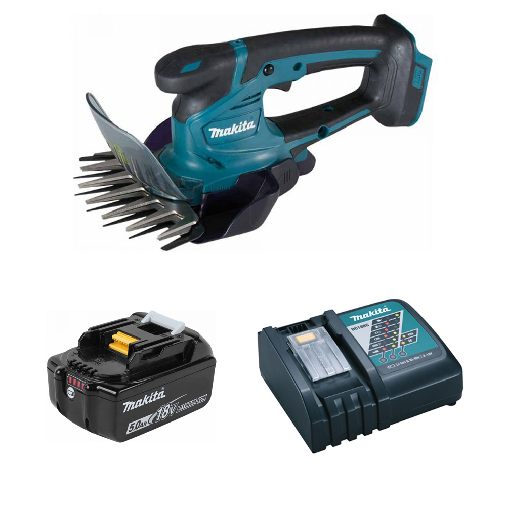 Makita DUM604 18v Grass Trimming Shears + Hedge Clipping Attachment - 1 x 5.0Ah Battery + Charger