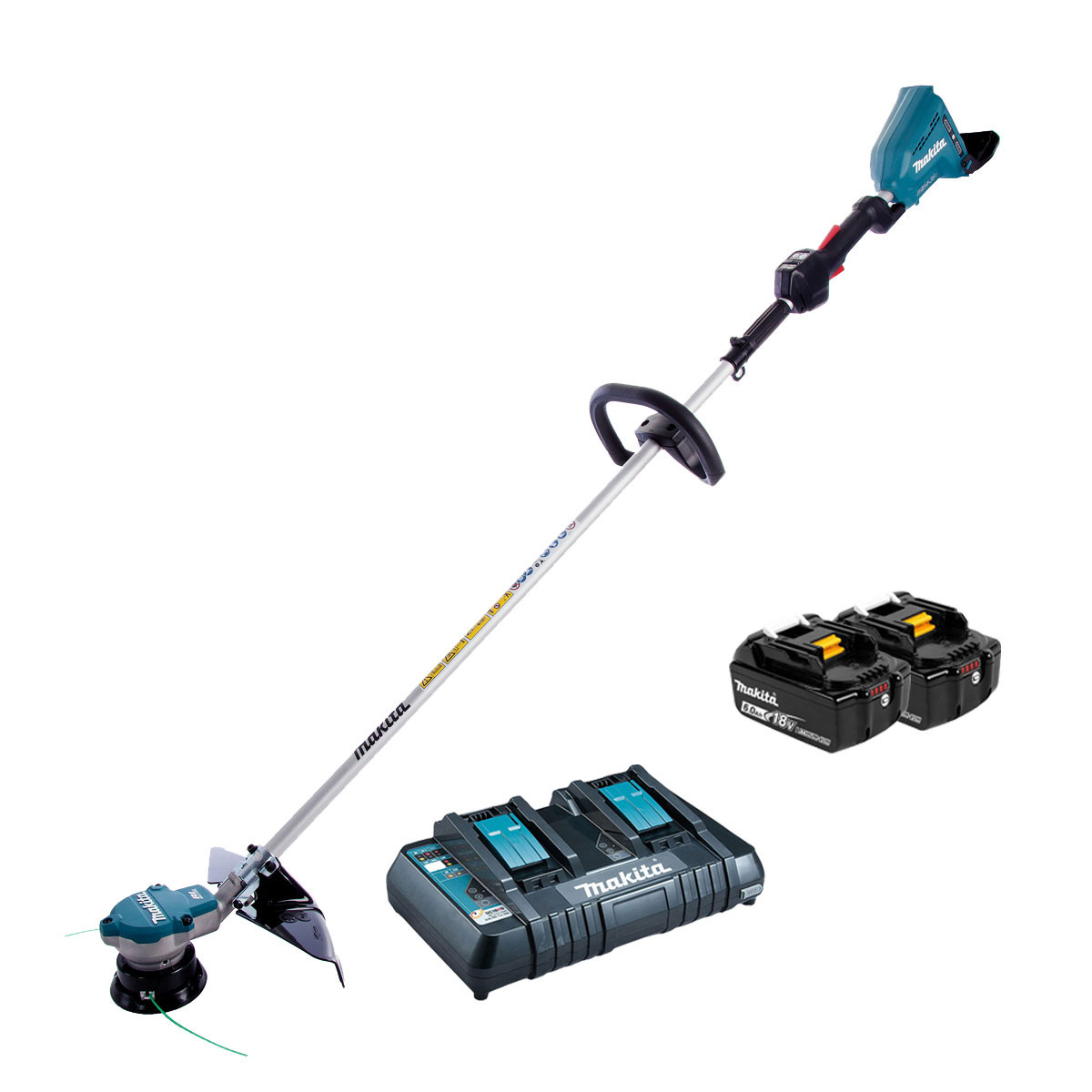 Makita DUR364L Twin 18v Brushless Strimmer - 2 x 6.0Ah + Twin Charger
