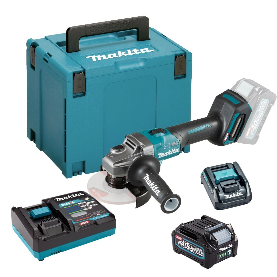 Makita GA005GD101 40v XGT Brushless 125mm Angle Grinder, 1 x 2.5ah Battery, Charger, Carry Case
