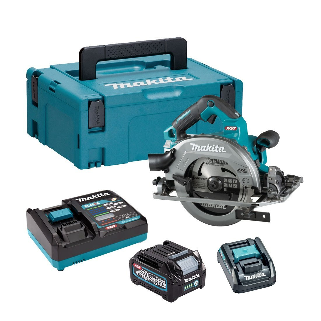 Makita HS004GD103 40v XGT Brushless Circular Saw 190mm, 1 x 2.5ah Battery, Fast Charger, Carry case + ADP10 Adaptor