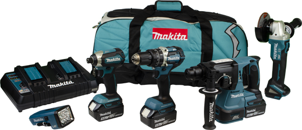 Makita DLX5042PT 18v 5pc Combi Kit Inc 3 X 5ah Batteries