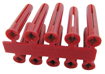 Olympic 050-070-015 Red Plastic Wall Plug - Pack of 100