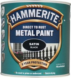 Hammerite 5084904 Satin Black Metal Paint 250ml