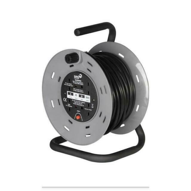 SMJ CTH2513 25M 13A 4 Socket Heavy Duty Cable Reel with Thermal Cut Out