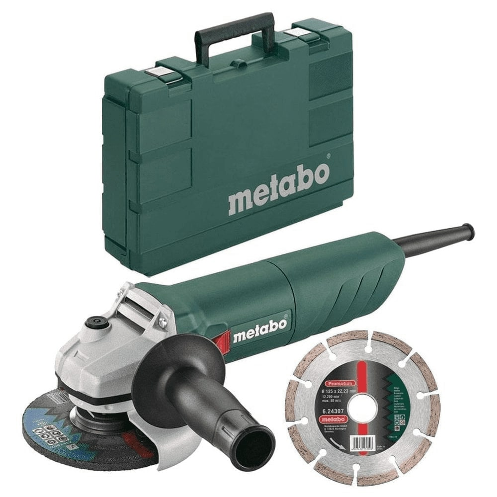 "Metabo W 750-115 110v, 750W 4.5"" Angle Grinder with Restart Protection + Carry Case + Diamond Disc"