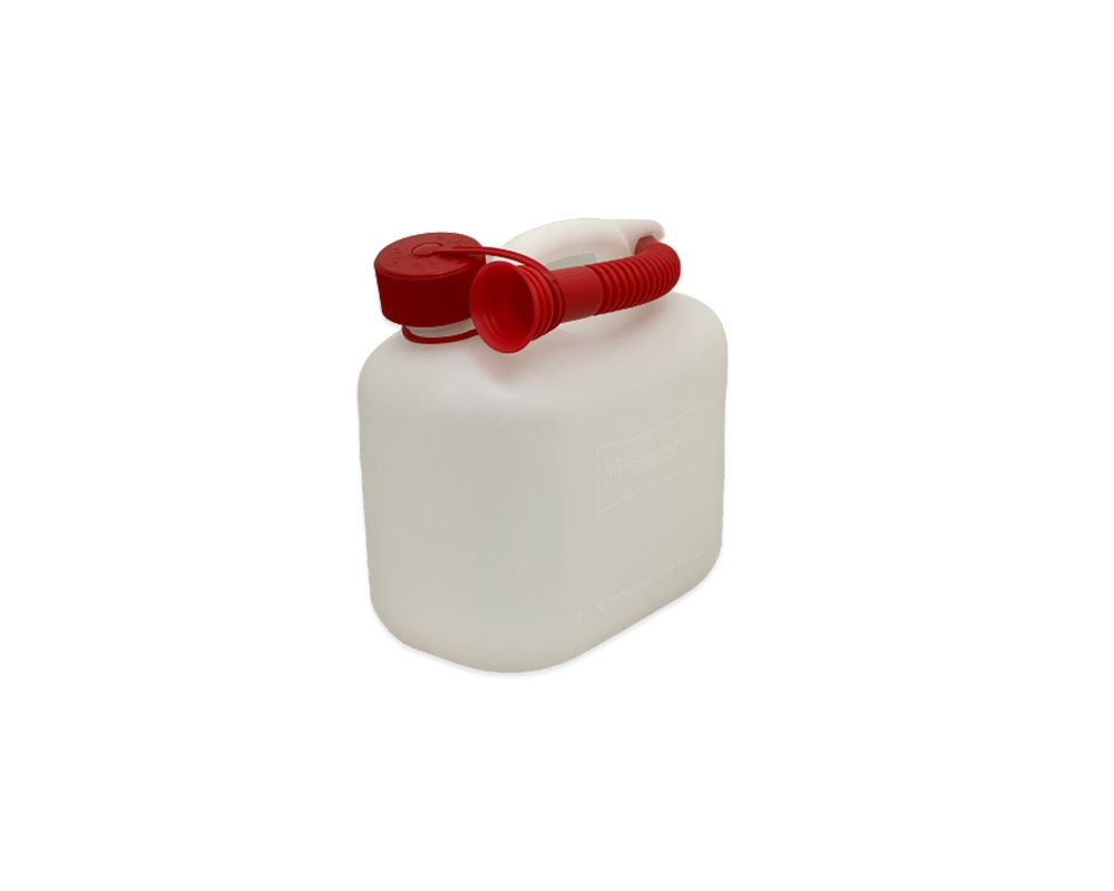 Translucent / Clear Plastic 5Ltr Fuel Can With Standard Lid and Spout