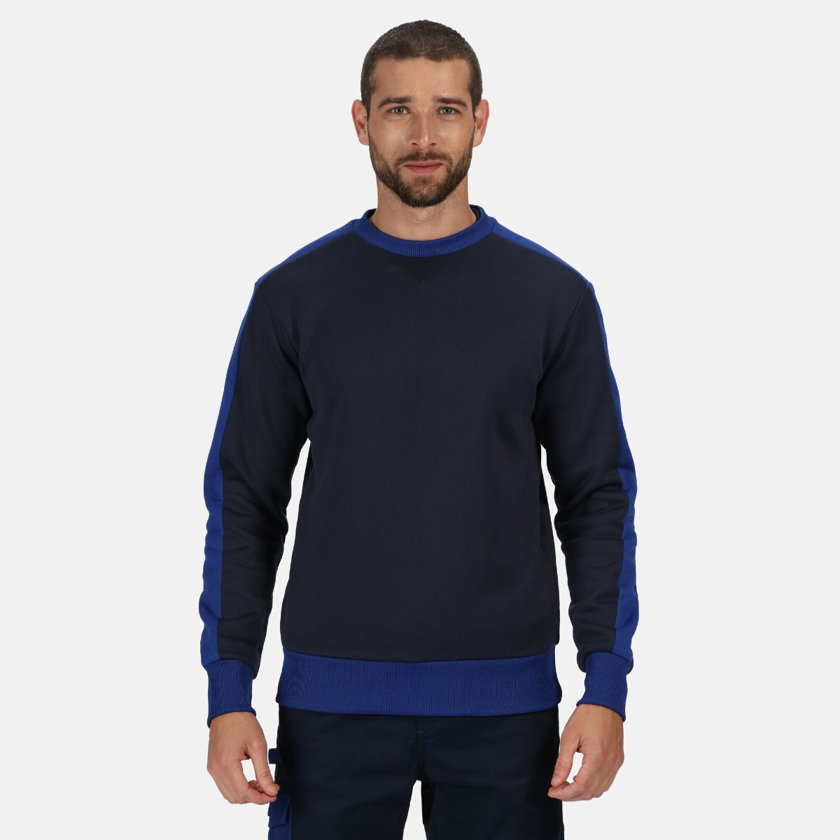 Regatta Contrast Crew Neck Sweater, Navy/New Royal, Size XL